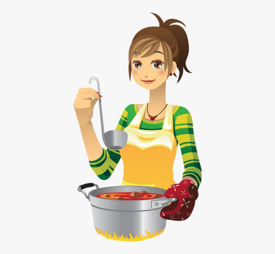 Transparent Girl Cooking Clipart - Cartoon Cooking, Transparent Clipart