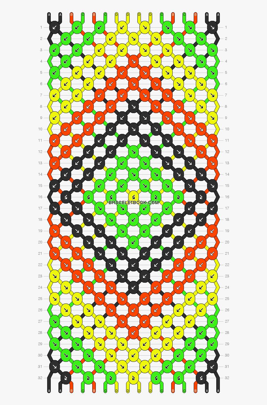 Clip Art Rasta Pattern - Friendship Bracelets Pattern 12 Strings, Transparent Clipart