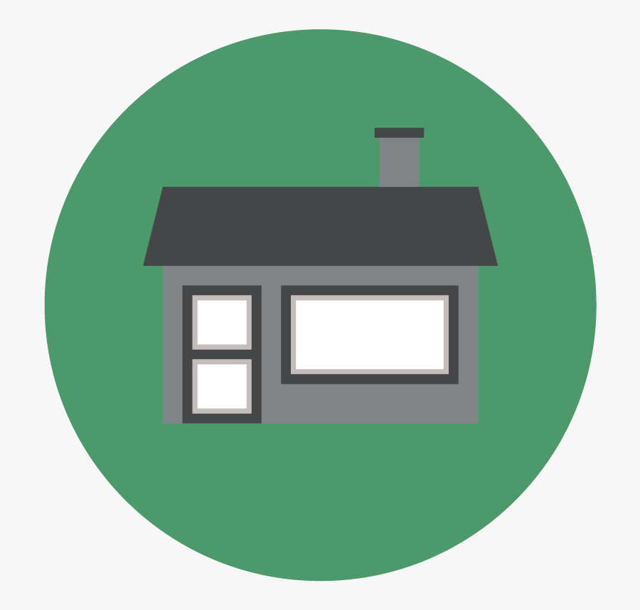 Large Grey House Vector Art On A Green Circular Background - House, Transparent Clipart