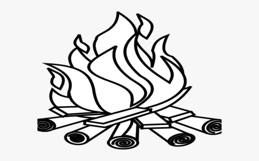 Bonfire Clipart Black And White - Line Art, Transparent Clipart