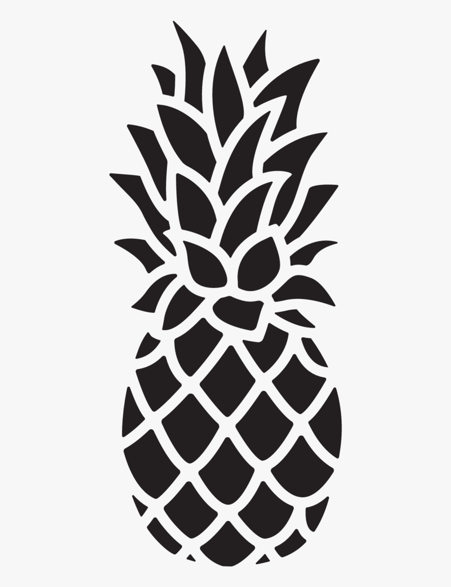 Pineapple Black And White Clipart Easy - Pineapple Illustration, Transparent Clipart