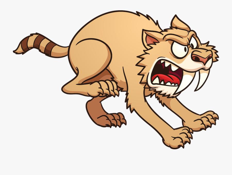 Transparent Saber Tooth Tiger Png - Saber Tooth Tiger Cartoon, Transparent Clipart
