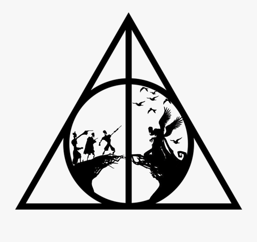 Harry Potter Black And White Clipart Deathly Hallows - Deathly Hallows Symbol Three Brothers, Transparent Clipart