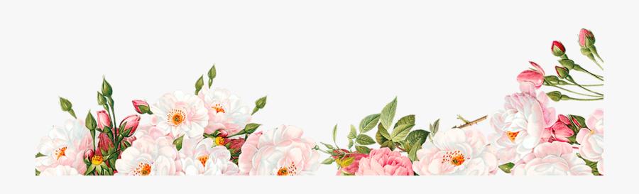 Watercolor Pink Flower Border, Transparent Clipart