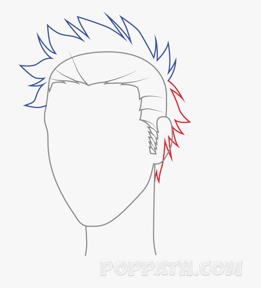 Transparent Backache Clipart - Male Spiky Hair Drawing, Transparent Clipart