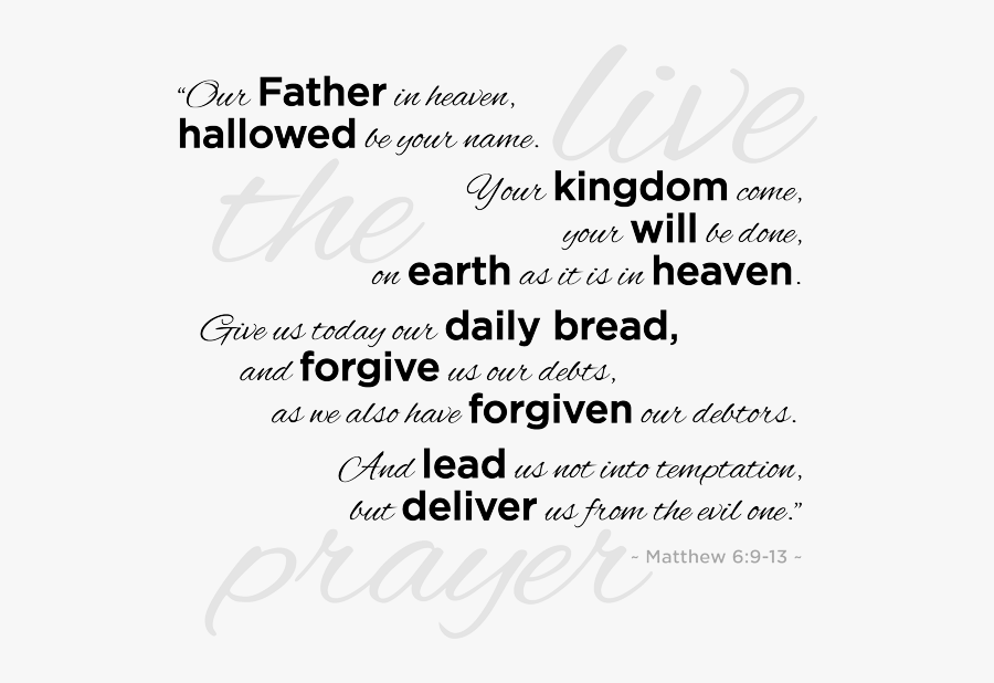 """Recite The Lord""""s Prayer Every Morning For 30 Days - Praying The Lords Prayer, Transparent Clipart"""