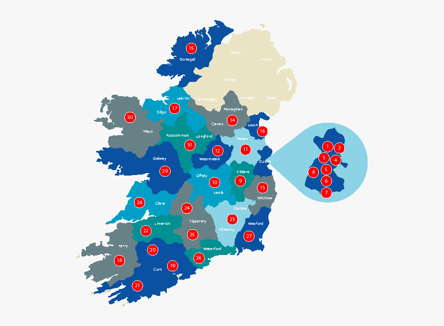 Newregions-map - National Parks In Ireland Map, Transparent Clipart