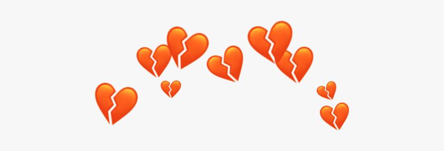 #orange #heart #crown #heartcrown #aesthetic #tumblr - Broken Blue Heart Emoji, Transparent Clipart