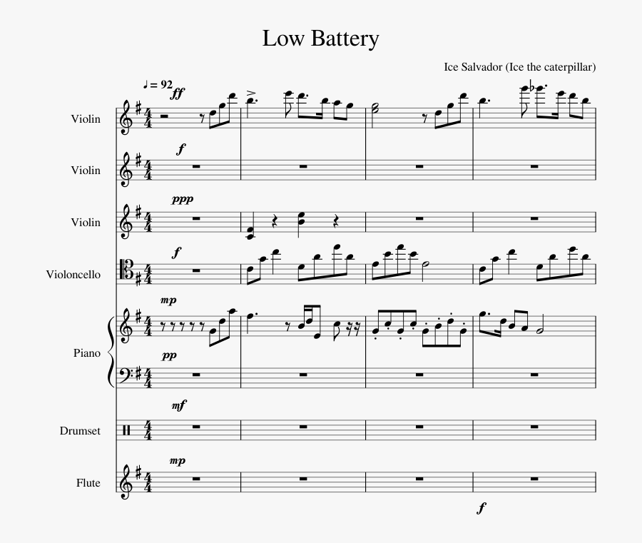 Transparent Low Battery Clipart - Sheet Music, Transparent Clipart