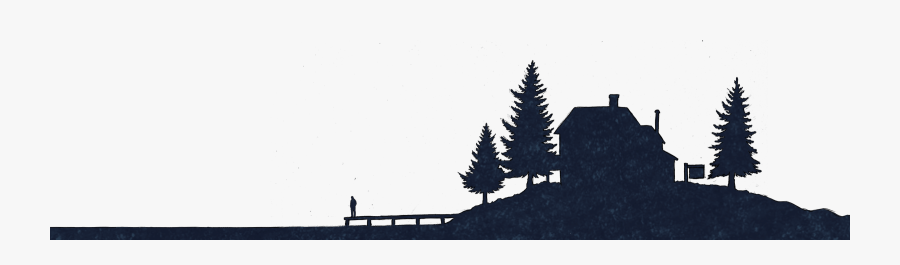 Cottage Silhouette - Cottage On Lake Silhouette, Transparent Clipart