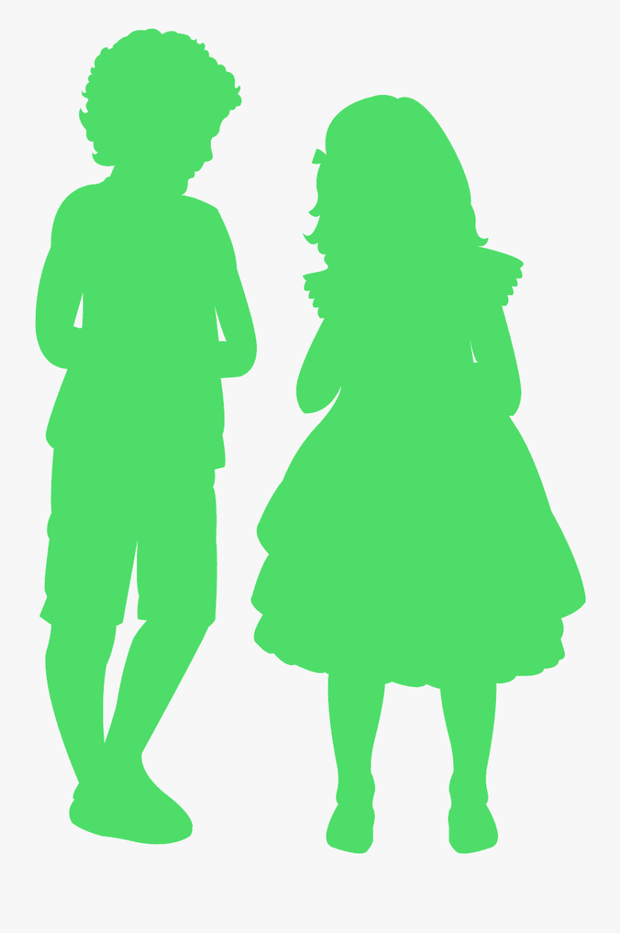 Yellow Boy And Girl Silhouette, Transparent Clipart