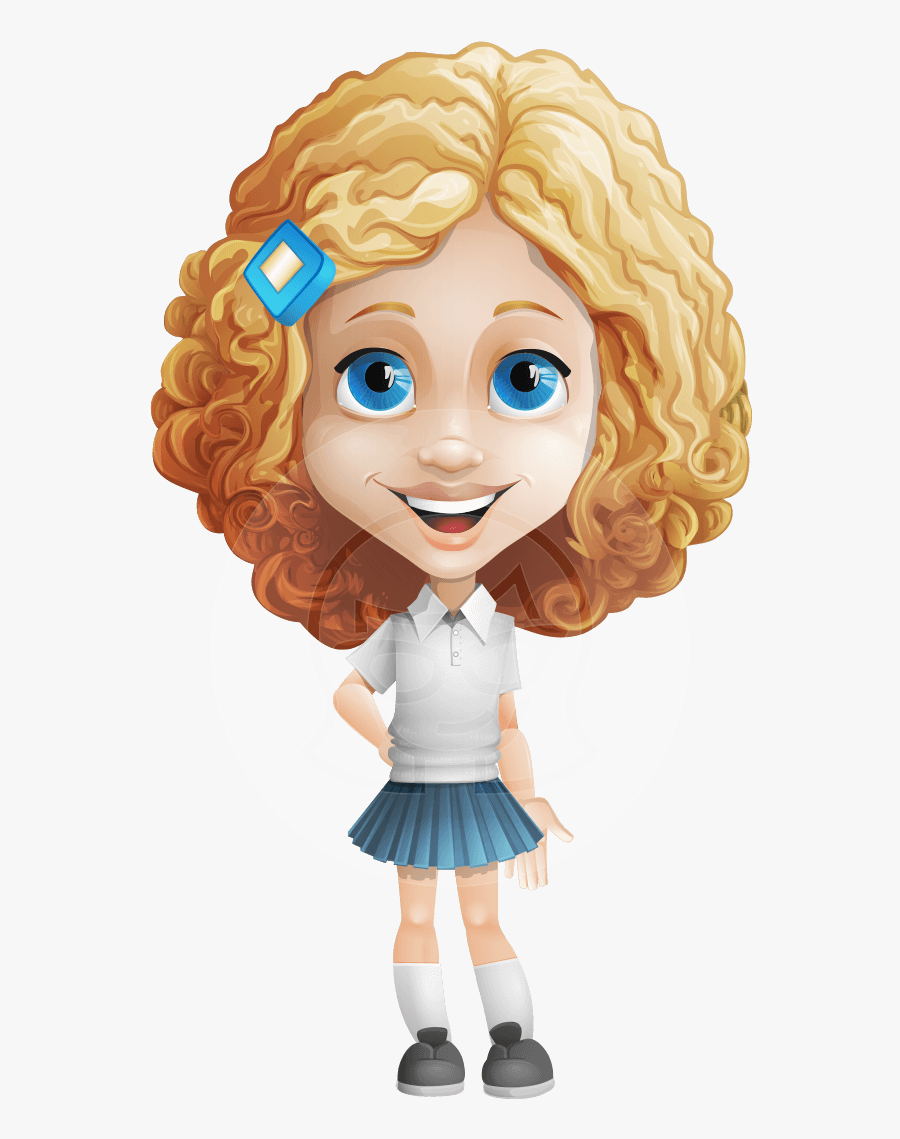 Cartoon Girl With Curly Hair, Transparent Clipart
