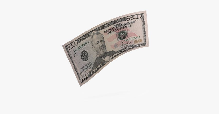50 Dollar Bill, Transparent Clipart
