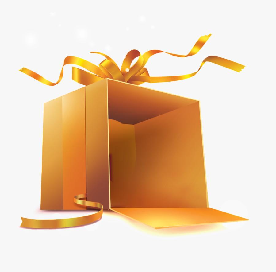 Transparent Open Gift Box Png - Golden Gift Box Png, Transparent Clipart