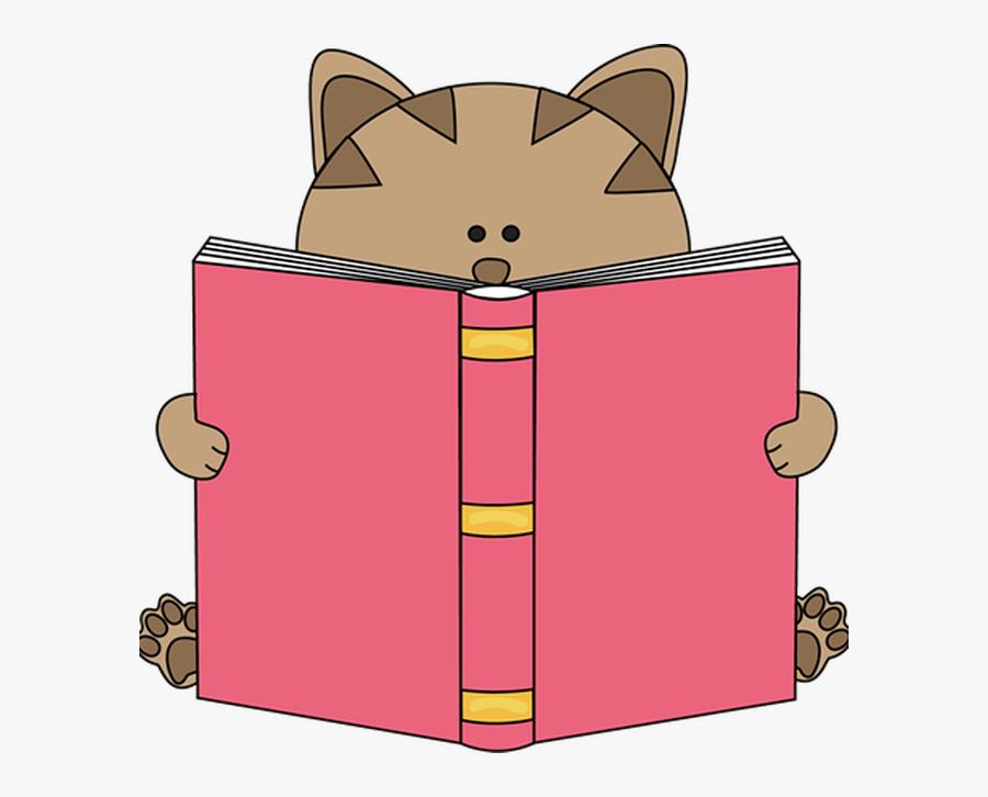 Cat Book Clipart - Clip Art Cat Reading, Transparent Clipart