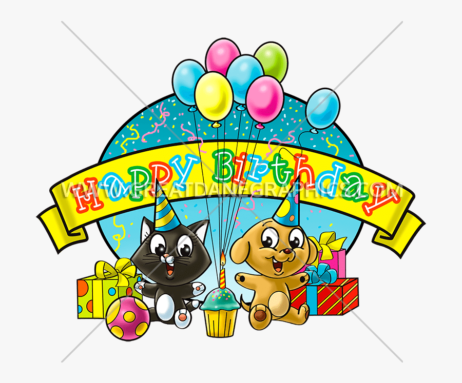 Birthday Cat & Dog - Dog And Cat Celebrating Birthday Party Clipart, Transparent Clipart