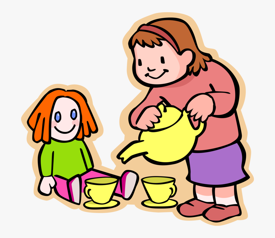 Girl Serves Tea To Doll - Doll Tea Party Clipart, Transparent Clipart