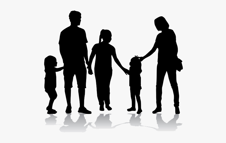 Silhouette Of A Happy Family Png Download - Family Of 5 Silhouette, Transparent Clipart