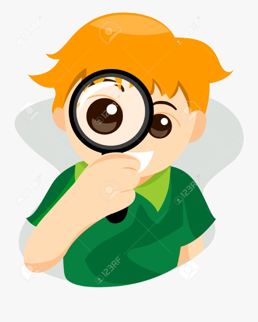 Magnifying Glass Kid With Clipping Path Royalty Free - Magnifying Glass With Eye, Transparent Clipart