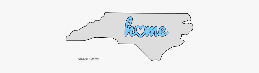 North Carolina Home Heart Stencil Pattern Template - Outline Of North Carolina, Transparent Clipart