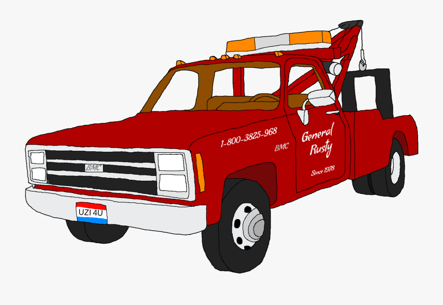A Drawing Of A Square Body Gmc Tow Truck I Just Did - Tow Truck Drawing, Transparent Clipart