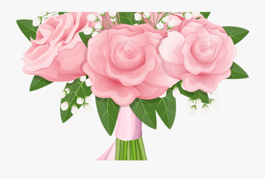 Realistic Flower Bouquet Svg Black And White Library - Pink Roses Clipart Free Bouquet, Transparent Clipart