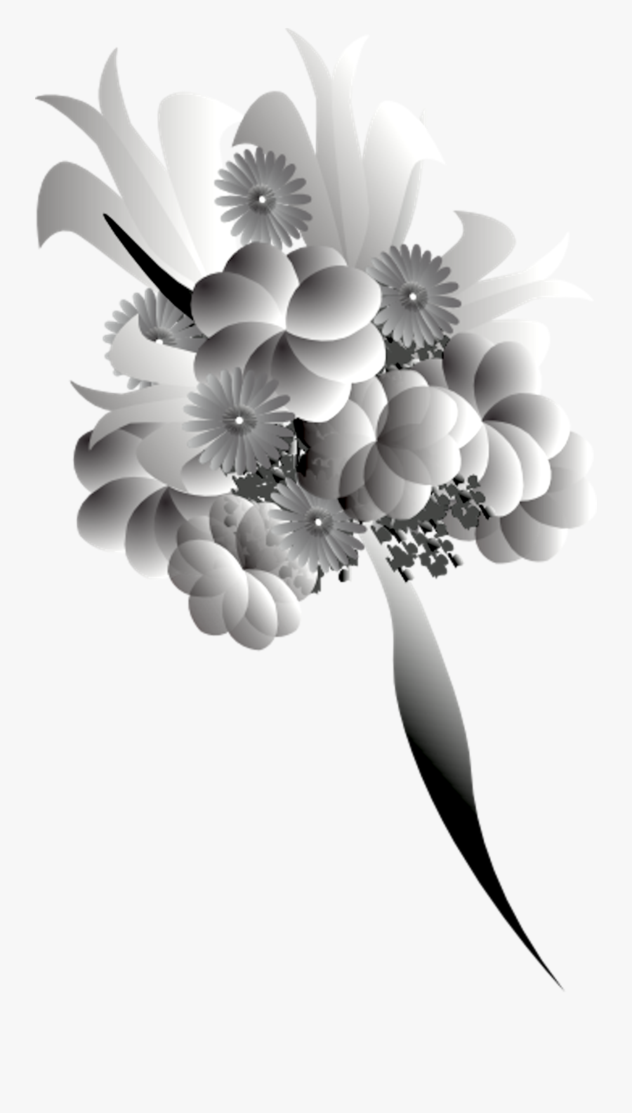 Bouquet Black White - Flower Bokeh Png Hd, Transparent Clipart
