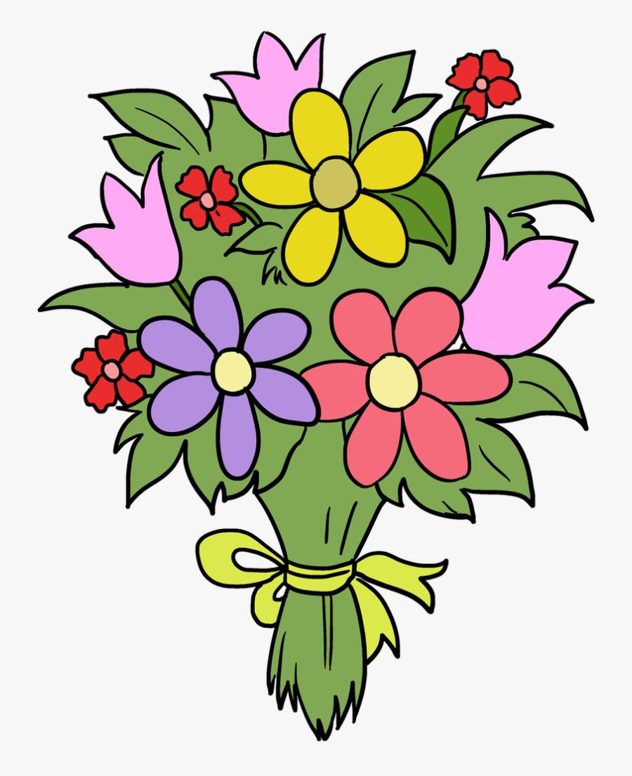 Bouquet Clipart Fun Flower - Easy Bouquet Of Flower Drawing, Transparent Clipart