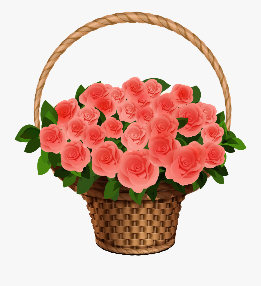 Basket With Red Roses Png Clipart Image - Basket Of Flowers Clipart, Transparent Clipart