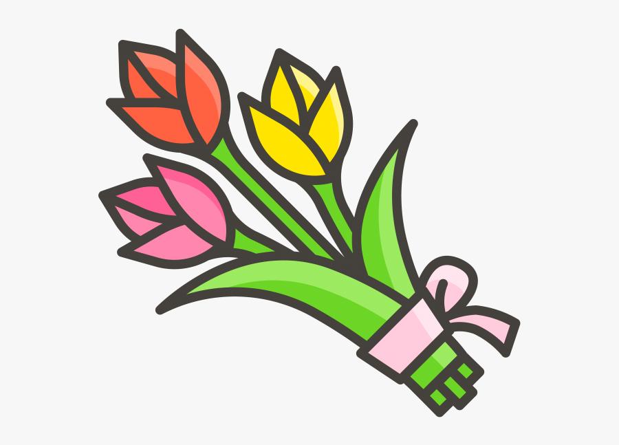 Flower Bouquet Emoji Icon - Flower Bouquet Clipart Png, Transparent Clipart