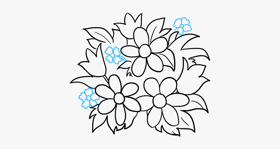 How To Draw A Flower Bouquet - Flower Bouquet Drawings For Beginners, Transparent Clipart