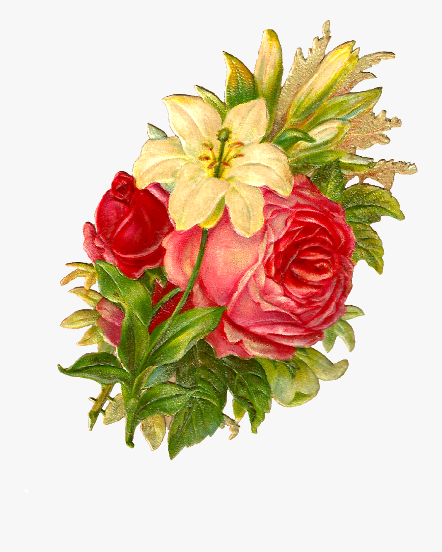 Free Digital Flower Bouquet Images Of Red And Pink - Garden Roses, Transparent Clipart