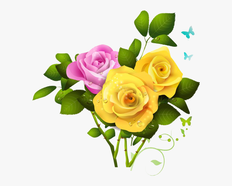 Flower,flowering Plant,rose,plant,cut Flowers,garden - Pink Rose And Yellow Rose, Transparent Clipart