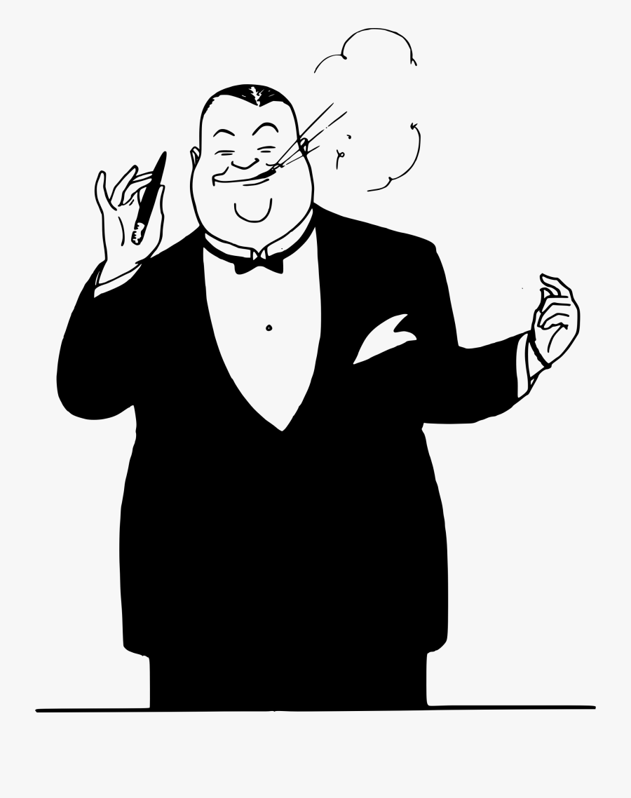 Fat Man Smokes - Fat Man In Suit Cartoon, Transparent Clipart