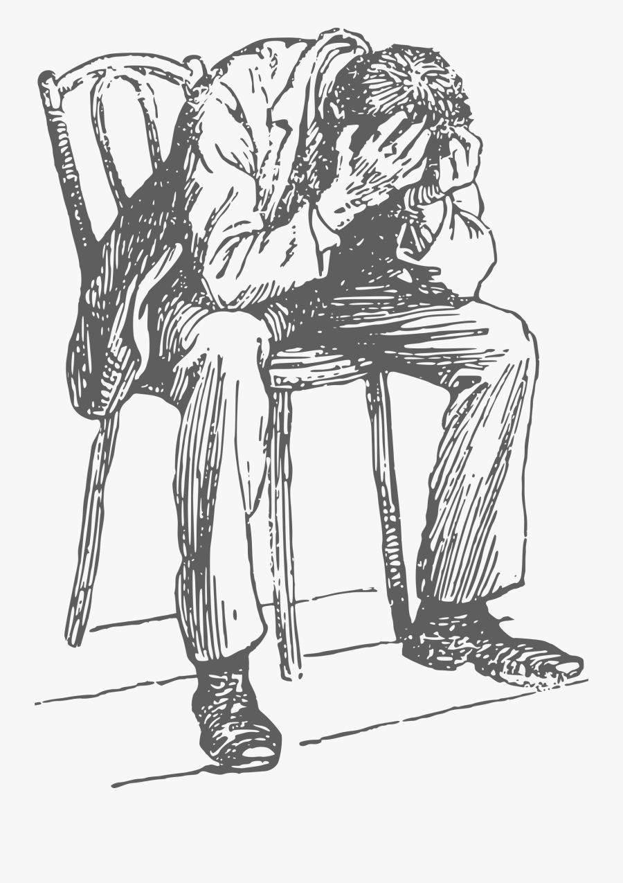 Man Sitting In Chair Drawing, Transparent Clipart