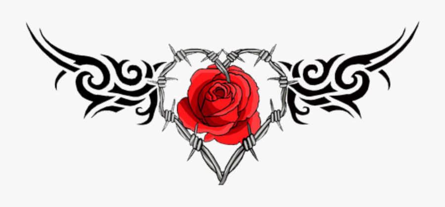 Rose Tattoo Clipart Picsart Png - Rose Barbed Wire Tattoo, Transparent Clipart