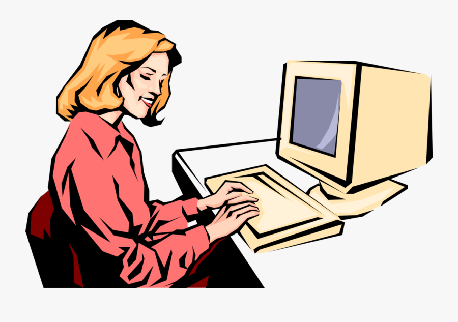 Transparent Typing Png - Lady Working On Computer Clipart, Transparent Clipart