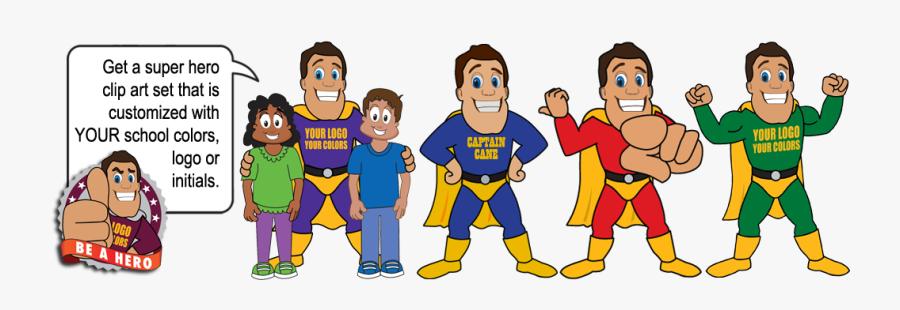 Hero Mascot Pbis Clipart - Customizable Super Hero Cartoon, Transparent Clipart