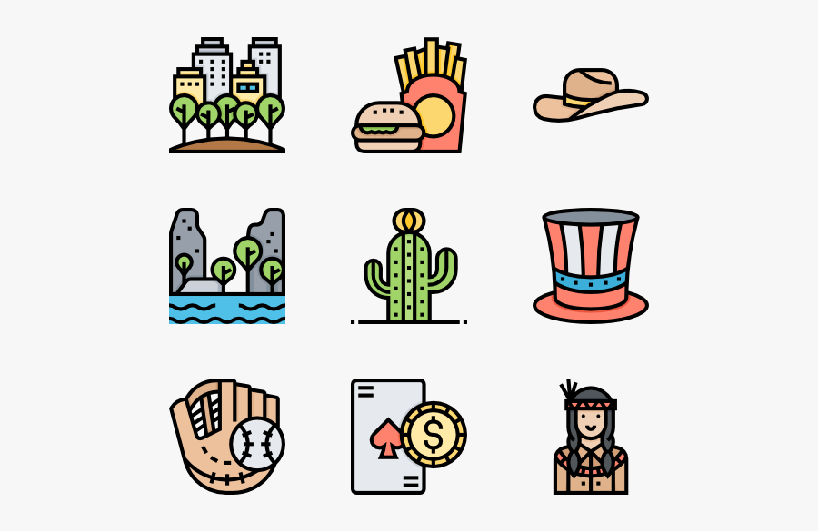 America - Icons That Describe The Usa, Transparent Clipart