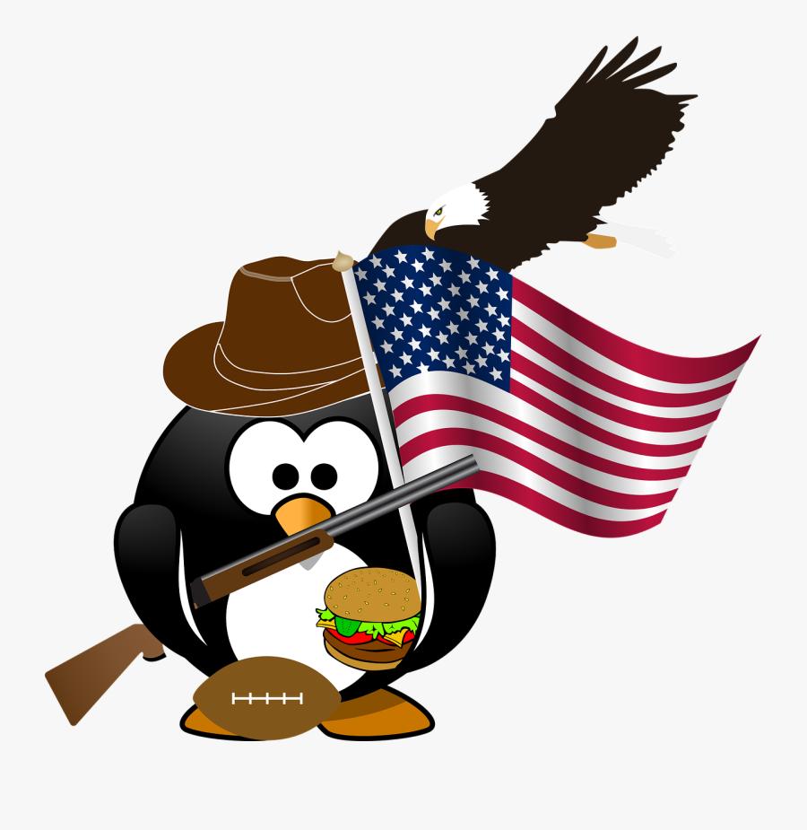 Penguin Flag Eagle Free Picture - Bald Eagle Flying Clip Art, Transparent Clipart