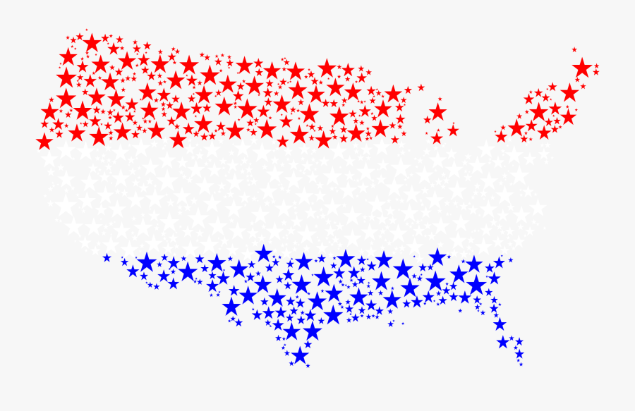 United States Map Flag Stars Vector Black And White - United States With No Background, Transparent Clipart
