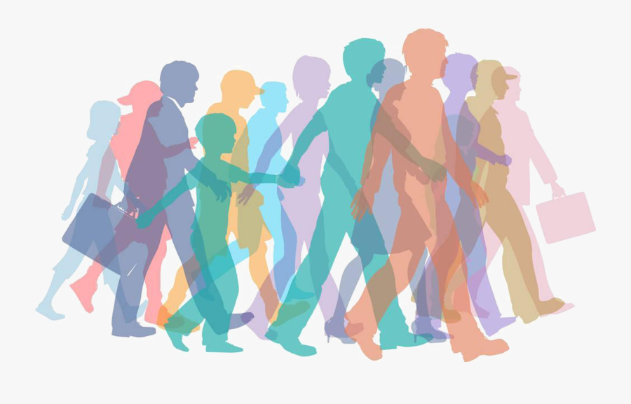 Banner Freeuse Download Clip Art Crowds Silhouette - People Walking Together Silhouette, Transparent Clipart