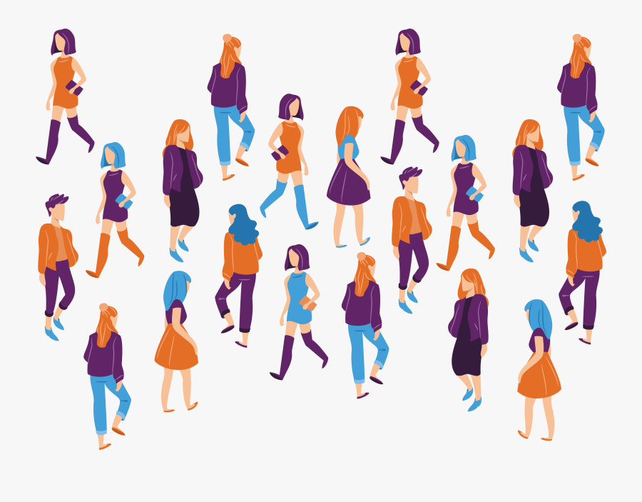19 Vector Crowd Walking Huge Freebie Download For Powerpoint - People Walking In Circle, Transparent Clipart
