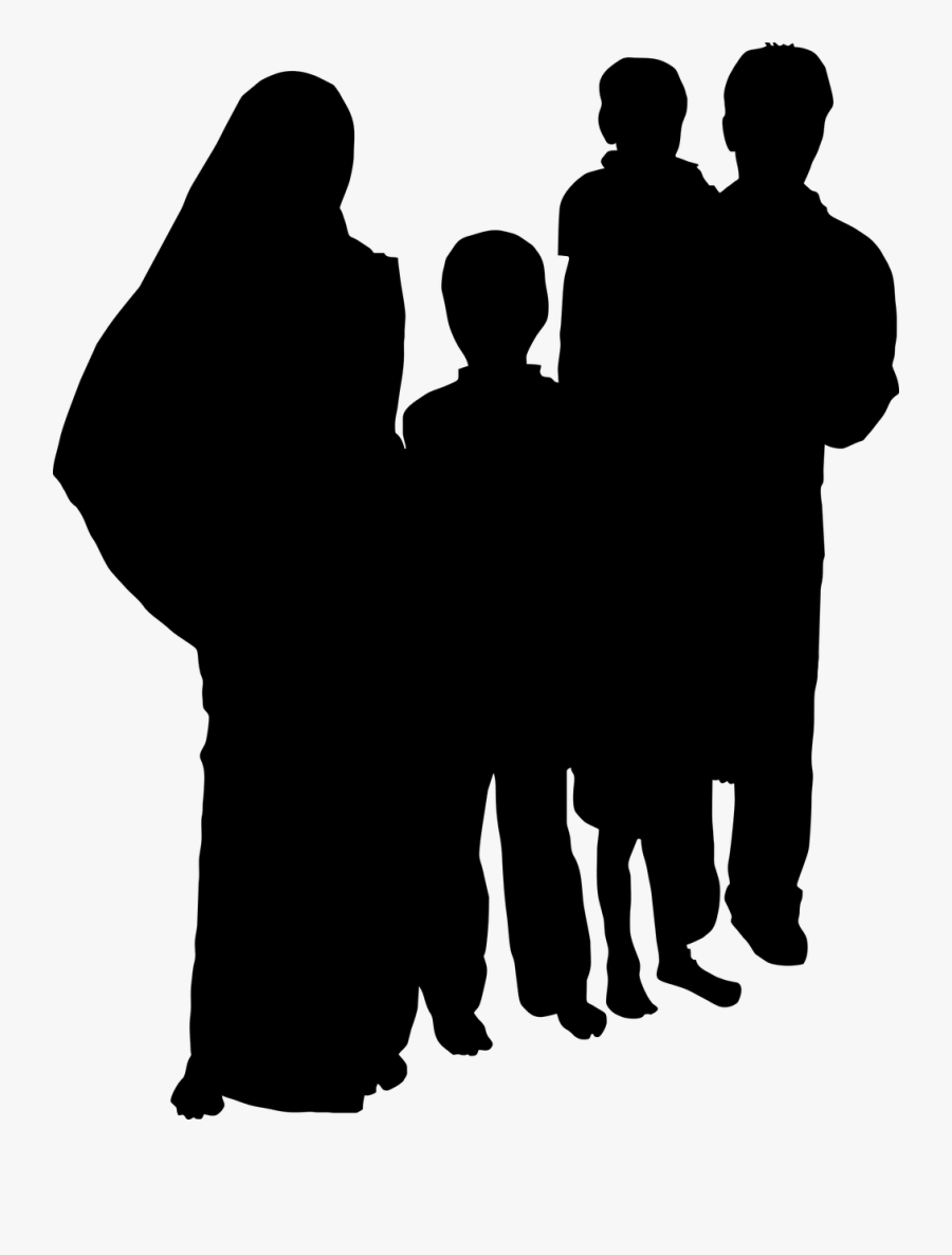 Indian Family Clipart Black And White - Indian Family Silhouette, Transparent Clipart
