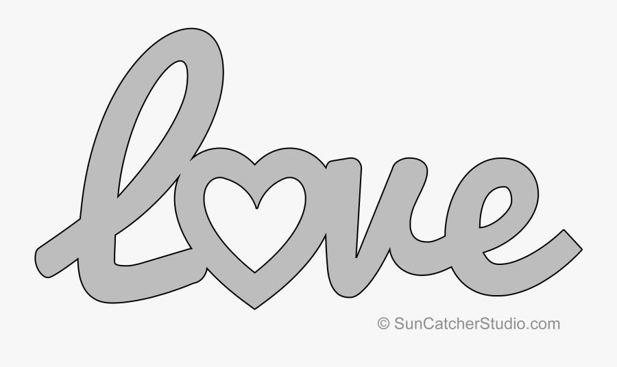 Love Heart Stencil To Print, Transparent Clipart