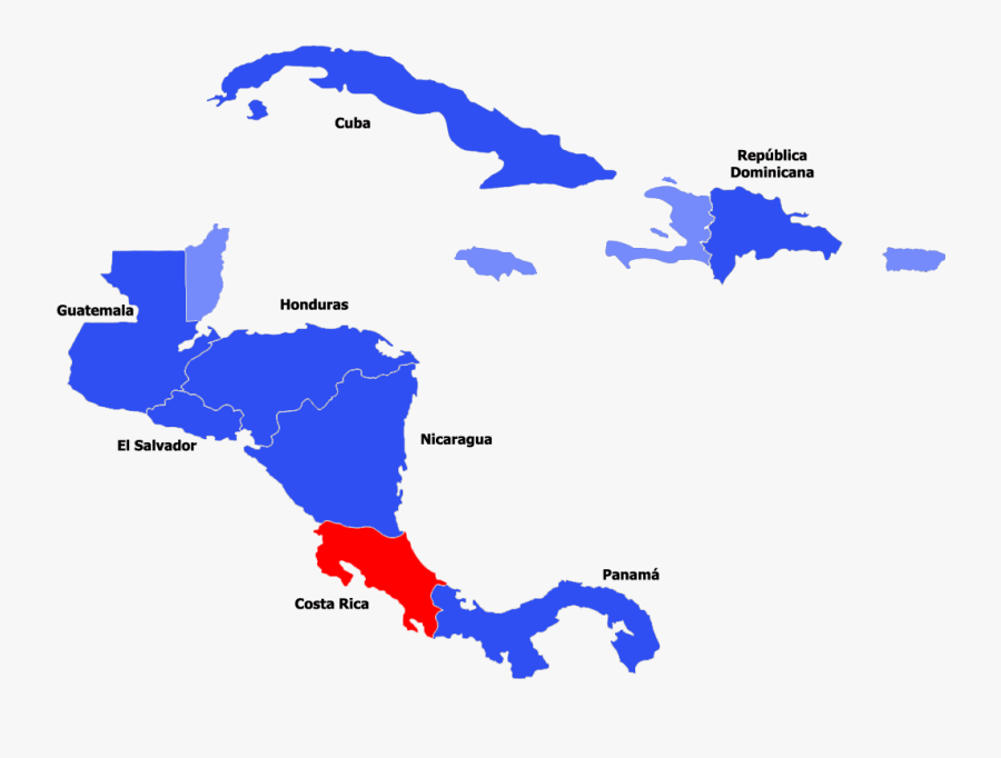 Clip Art Map Of Central America And The Caribbean - Central America Map Simple, Transparent Clipart
