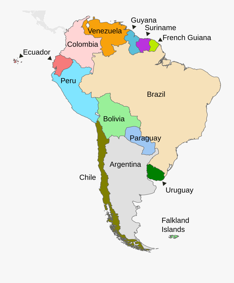 Countries Of South American Regions, Transparent Clipart