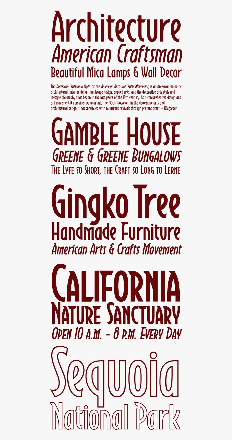 Clip Art Arts And Crafts Font - Craftsman Style Font, Transparent Clipart