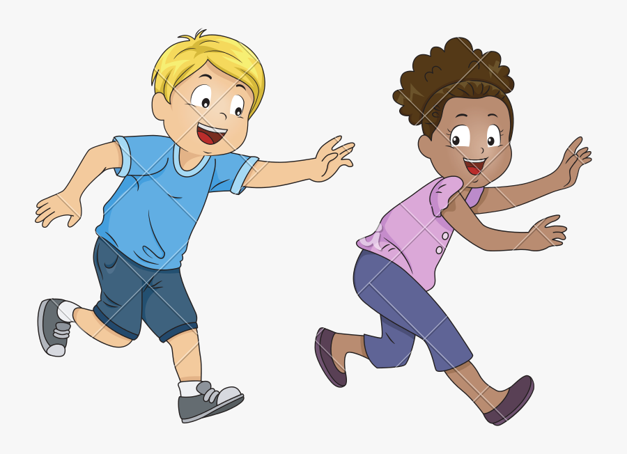 Kids Playing Tag Game - Playing Tag Cartoon, Transparent Clipart