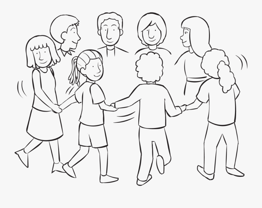 The Clock Initiative - People Holding Hands In A Circle Drawing, Transparent Clipart